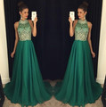 2017 hot luxury green prom dresses high neck long crystal beaded women pageant evening gown for formal party vestido festa