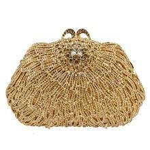 Neueste Gold Luxus Kristall Bankett Tasche Diamant Hochzeit Handtasche für Party Geldbörse Abendessen Strass Abendtasche SC461
