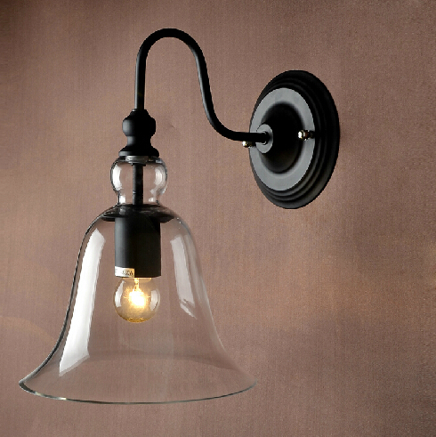 Retro Loft Crystal Glass Bell Wall Lamps Vintage Sconce Industrial Lights Fixtures Luminaire Outdoor