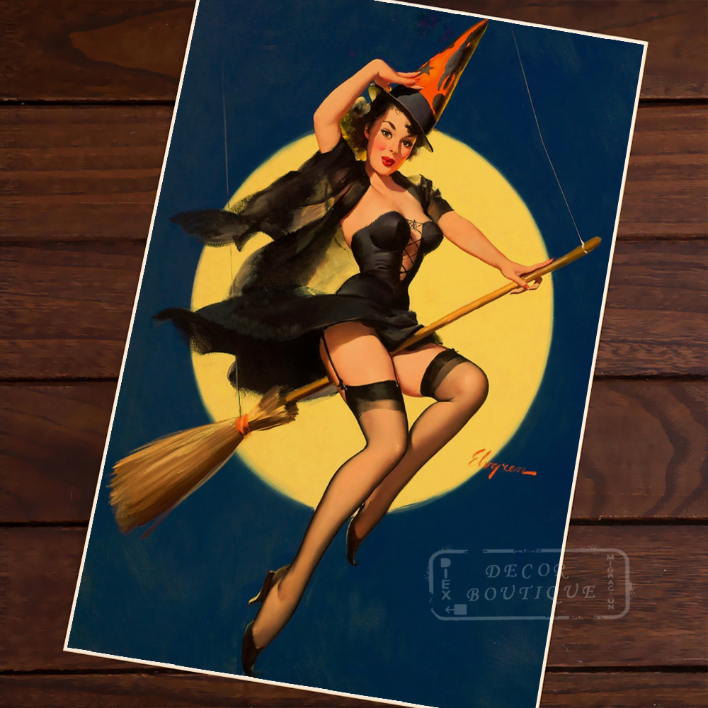 Sexy Witch Pin Up Girl Pop Art Map Poster Classic Vintage Retro Kraft Canvas Maps Wall Sticker Home Bar Posters Decor Gift Map Wall Sticker Map Posterwall Sticker Aliexpress