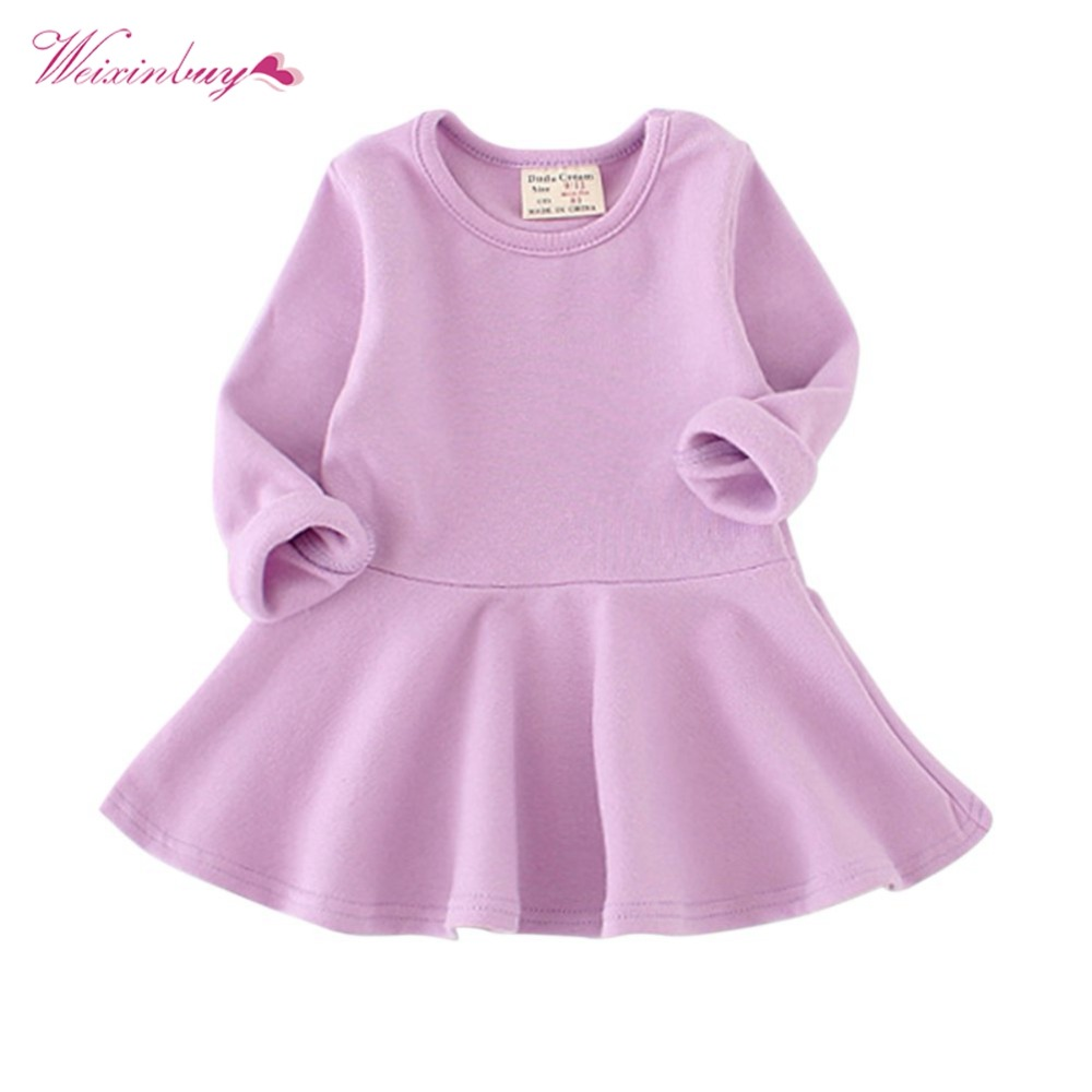 WEIXINBUY Girl Cute Dress Spring Autumn Candy Color Baby Girl Dress Children Clothing Children Dress Baby Products New hot sale new 2016 summer girl dress cat print baby girl dress children clothing children dress 2 6years