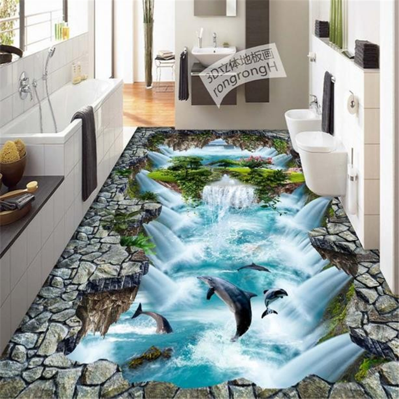 beibehang papel de parede 3D custom PVC floor pvc self adhesive wallpaper stereoscopic dolphin 3d floor murals wall paper roll  beibehang shells pigeons papel de parede 3d flooring wallpaper for walls 3 d pvc self adhesive wallpaper floor tiles wall paper