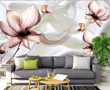 Home Decor Living Room Wall Covering Elegant fresh flowers living room TV background wall Modern Custom 3D Wallpaper