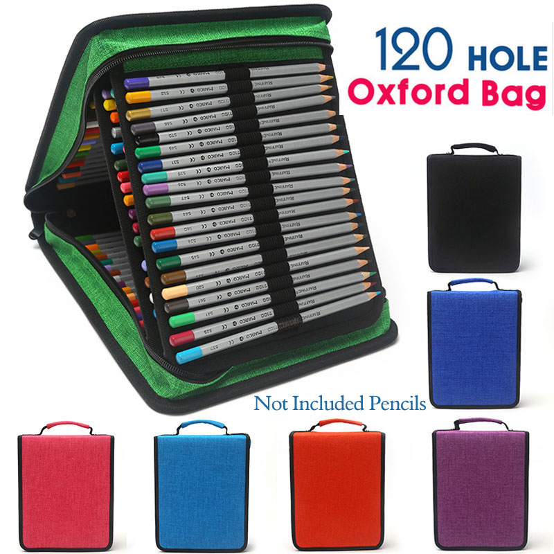 NICAS 120 Slots Oxford Canvas Pencil Case School Handy 4 Layer Large Capacity Pencils Bag Estojo Escolar For Art Kalem Kutusu kicute new 120 slots large capacity oxford canvas 4 layers school pencil case pencil bag art marker pen holder school supplies
