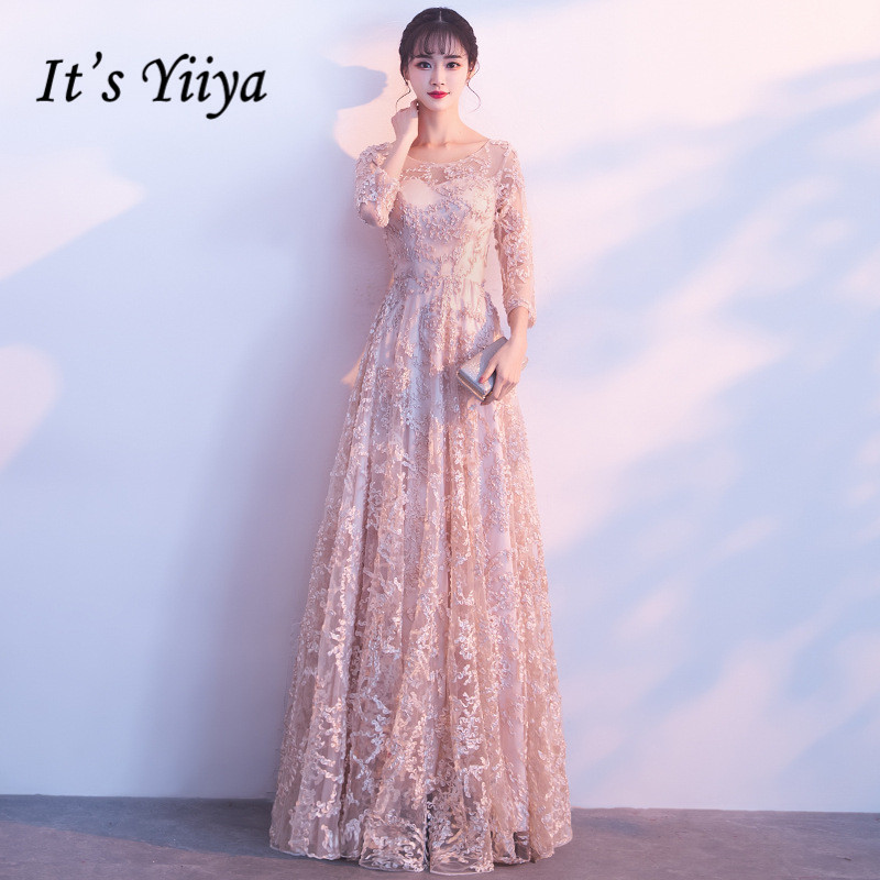 It's Yiiya Champagne Three Quater Sleeve Appliques Lace Up A-line Evening Dresses Illusion Floor Length Prom Dress MX008