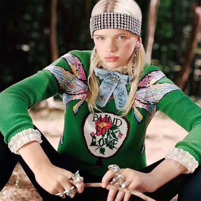 2018 Otoño Invierno verde suéteres tejidos jerseys mujeres pista diseñador doble pez mujeres señoras Navidad Jumper ropa