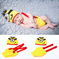 Crochet Yellow Minions Newborn Boys Photography PROPS Knitted Infant Cartoon Costume Baby Minions Clothing Set  MZS-16039