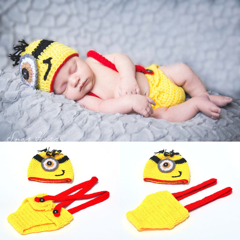 Moeble Crochet Yellow Minions Newborn Boys Photography PROPS Knitted Infant Cartoon Costume Baby Minions Clothing Set Christmas
