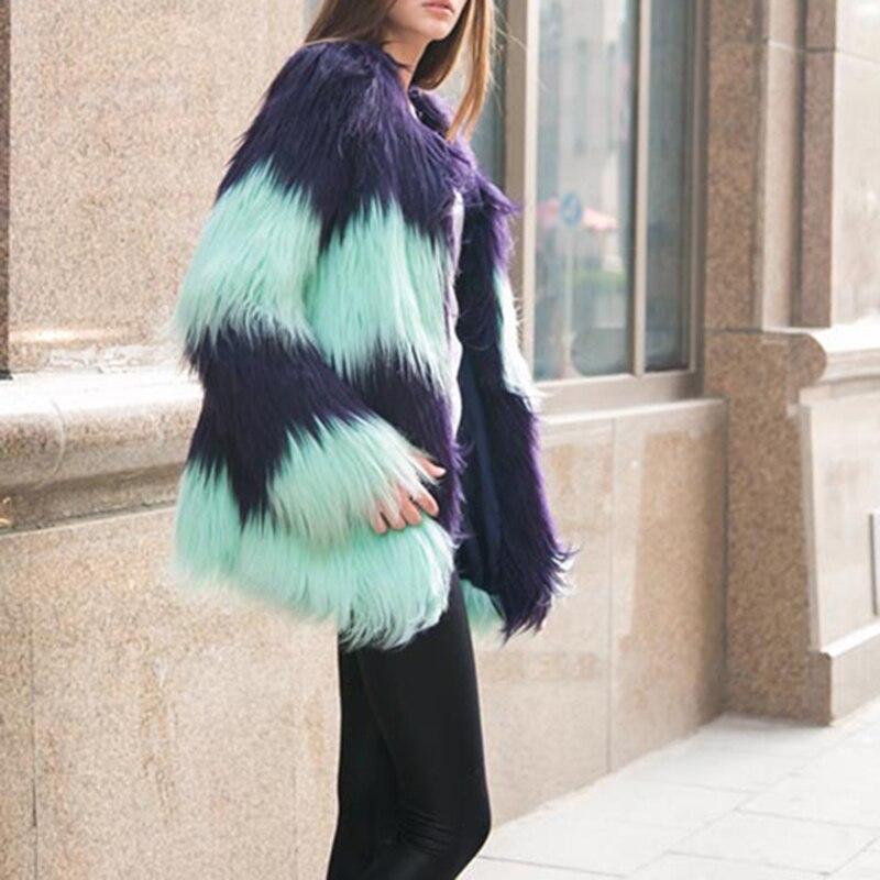 Tops Picture Manches Long Fausse Fourrure Artificielle En Femelle Manteau Mode Color De Manteaux Chaud Veste Femmes Patchwork D'hiver Outwear 2017 vUtFSF