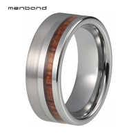 Wood Ring Men Women Tungsten Wedding Band With Bevel Edges Comfort Fit