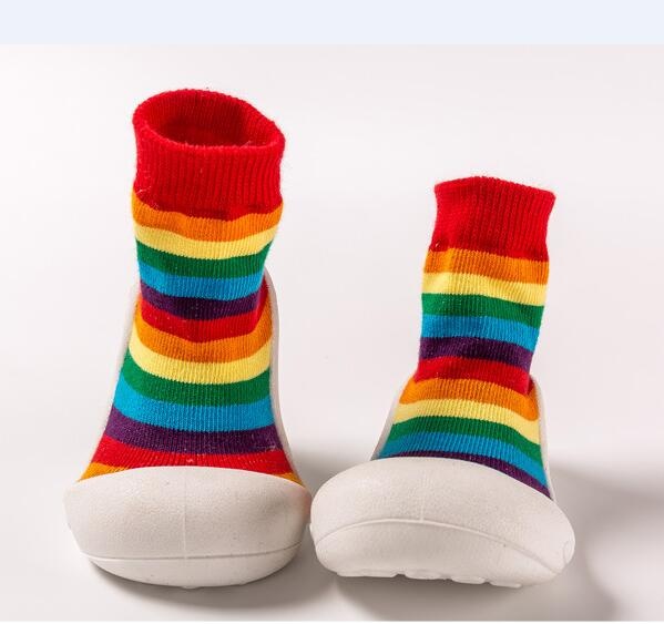 Fashion Baby Shoes With Rubber Soles Infant Sock Newborn Autumn Winter Children Floor Socks Shoes Anti Slip Soft Sole Crib Shoes