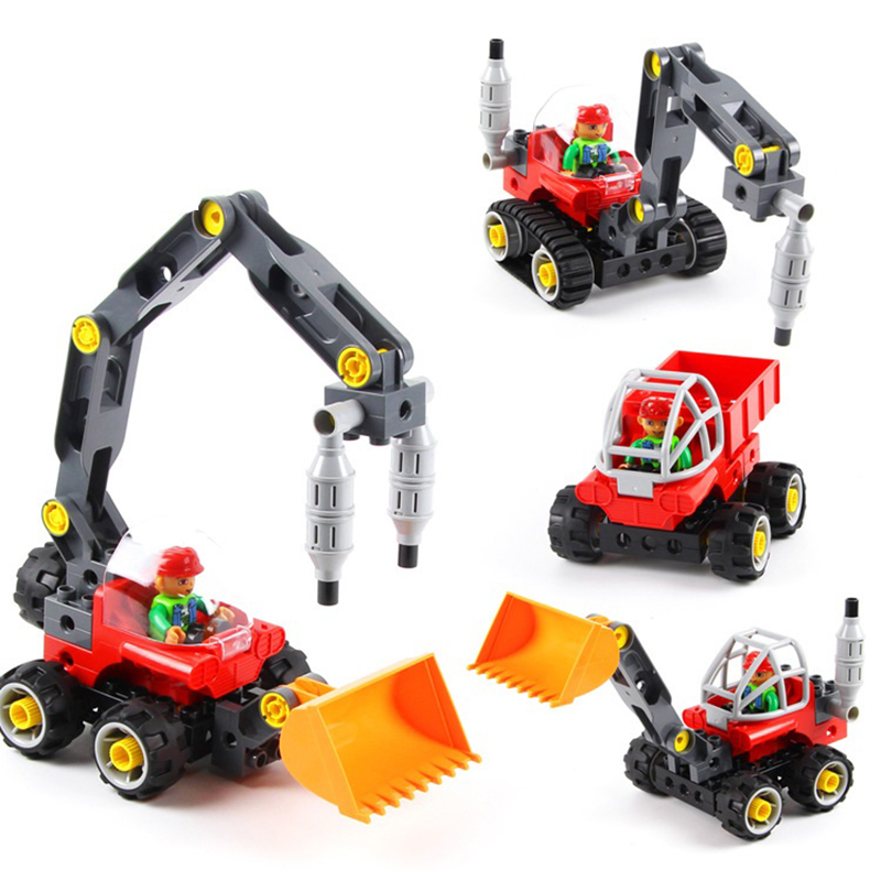 Toys for Children Model Building Kits Blocks Learning Education Machines Loader Car Toy Blocks Compatible With Legoe Duplo 4 wange mechanical application of the crown gear model building blocks for children the pulley scientific learning education toys