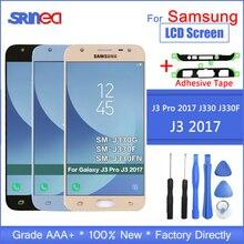 Için Samsung Galaxy J3 2017 J330 LCD Ekran J330f SM J330FN LCD ekran + Yapıştırıcı Araçları Ile dokunmatik ekranlı sayısallaştırıcı grup