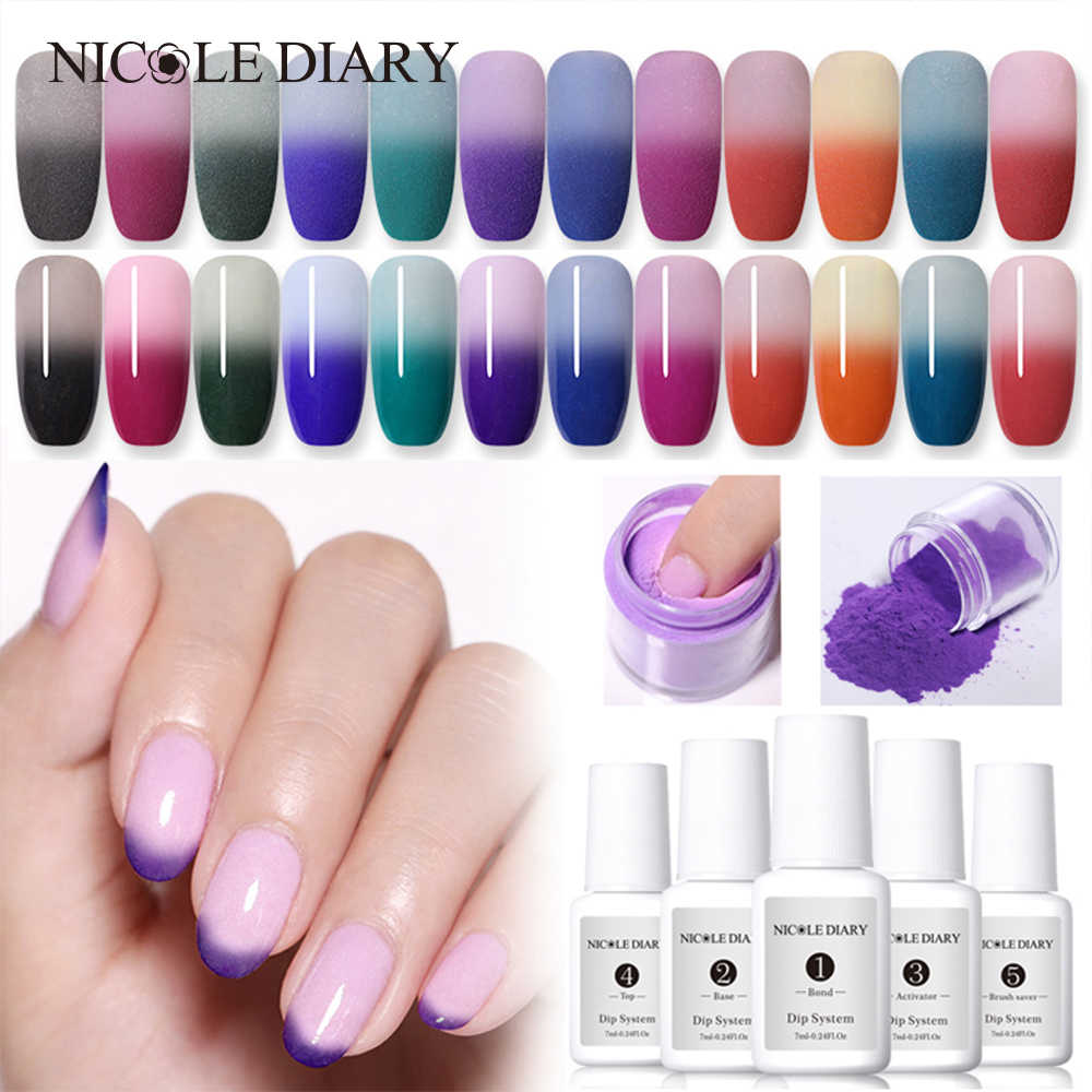 NICOLE DIARY Thermal Color Changing Dipping Nail Powder Temperature Change Acrylic Glitter Dust Pigment DIY Manicure Nail Art