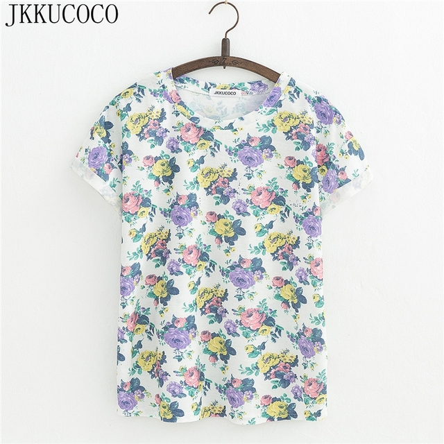 JKKUCOCO Three Different Color Rose Flowers Print New Women T Shirt Short Sleeve Casual