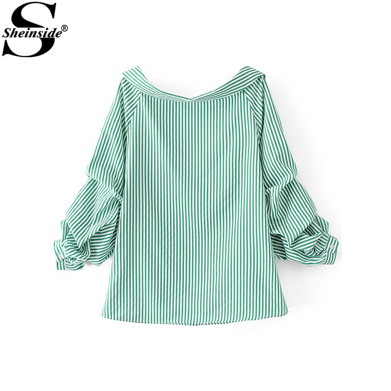 dd637b1dd6 Sheinside Vertical Striped Tunic Shirt Green Long Sleeve Blouse 2017 Button  Up Lapel Women Tops Casual ...