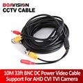 10 М (33ft) CCTV Кабель + ПОСТОЯННОГО ТОКА Разъем CCTV BNC Видео Удлинитель Камера Высокой Четкости Кабель Поддержка AHD, TVI, HDCVI Камеры и DVR
