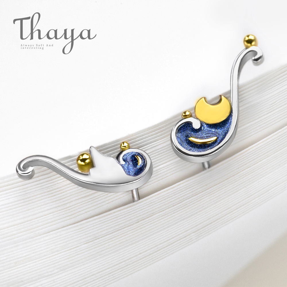 Thaya 925 Silber Ohrringe Van Gogh der Glitter Gold Mond Sterne Stud Ohrringe Bohemian Vintage Emaille Partei Schmuck Für Frauen