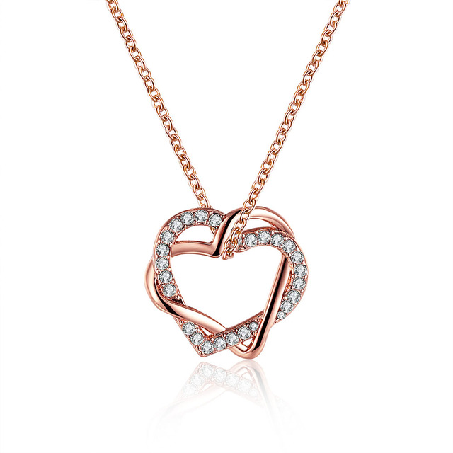 Heart Pendant Femme Necklace Pendant Jewelry Rose Gold Color Gift For Girl