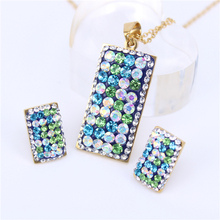 Classic stainless steel women's romantic earrings necklace square color crystal optional 4-color chain XS44
