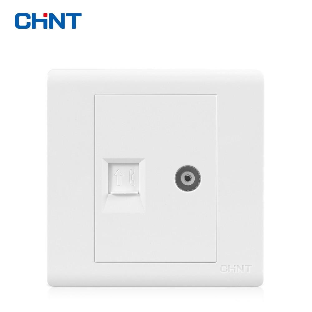 Tipo de Interruptor Da Tomada de Parede CHINT 86 NEW7D Videofone Painel Tomada Tomada Videofone Conectar