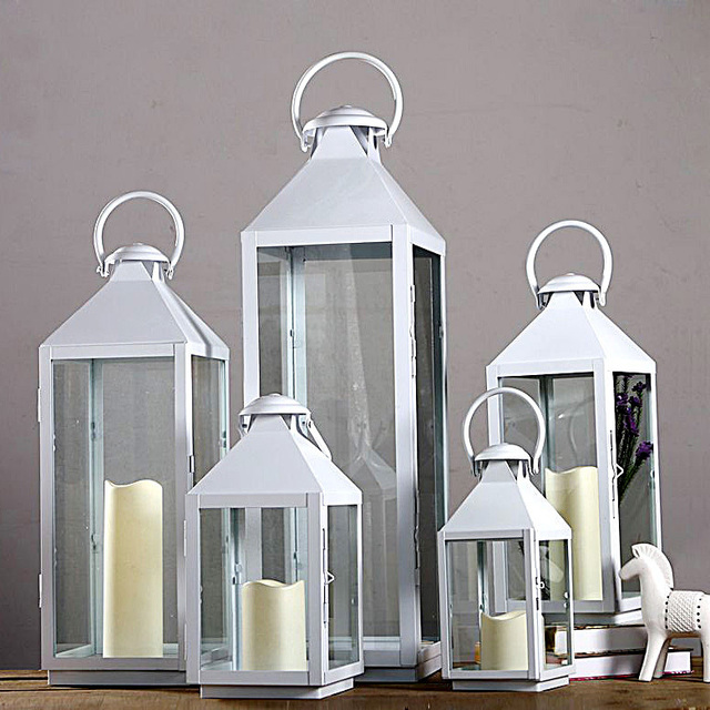 Buy wrought iron glass vintage large floor windproof lanterns vintage yard home - Lanterne portacandele ikea ...