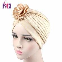 2017 New Fashion Women Twist Turban Headband Polyester Solid Chemo Headwear Ladies Hijab Turbante with Flower
