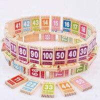 Giocattoli in legno Per Bambini Math Domino Gioco 100 pz Legno Mattoni Figura Building Blocks Bambino Giocattolo Educativo di Apprendimento di Matematica