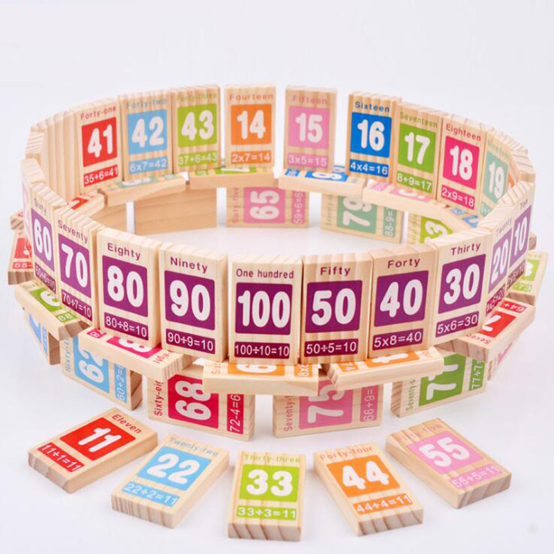 Wooden Toys For Children Math Domino Game 100pcs Wood Bricks Figure Building Blocks Baby Educational Toy Math Learning
