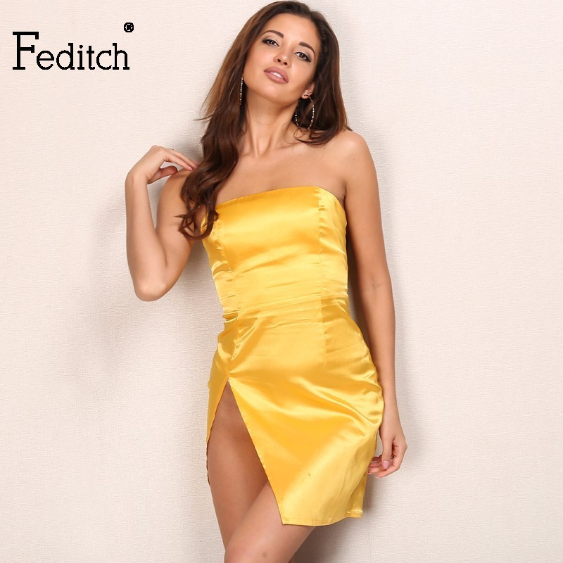 a43a3816f704 Feditch Summer Series Lemon Yellow Strapless Mini Dress Women Elegant  Ladies Sexy Party Night Dresses Beachwear Vestidos Mujer-in Dresses from  Women's ...