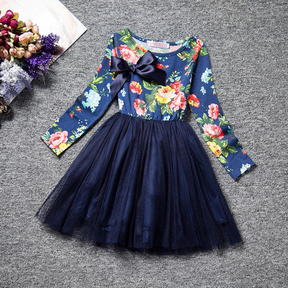 Подробнее о 2016 Retail baby Girl Clothes Long Sleeve Girls Dress Bow  Kids pretty princess Dresses Full children clothing sweet style A0229 children costumes for girls sweet princess dress baby girl school dresses for birthday party long sleeved bow girl kids clothes
