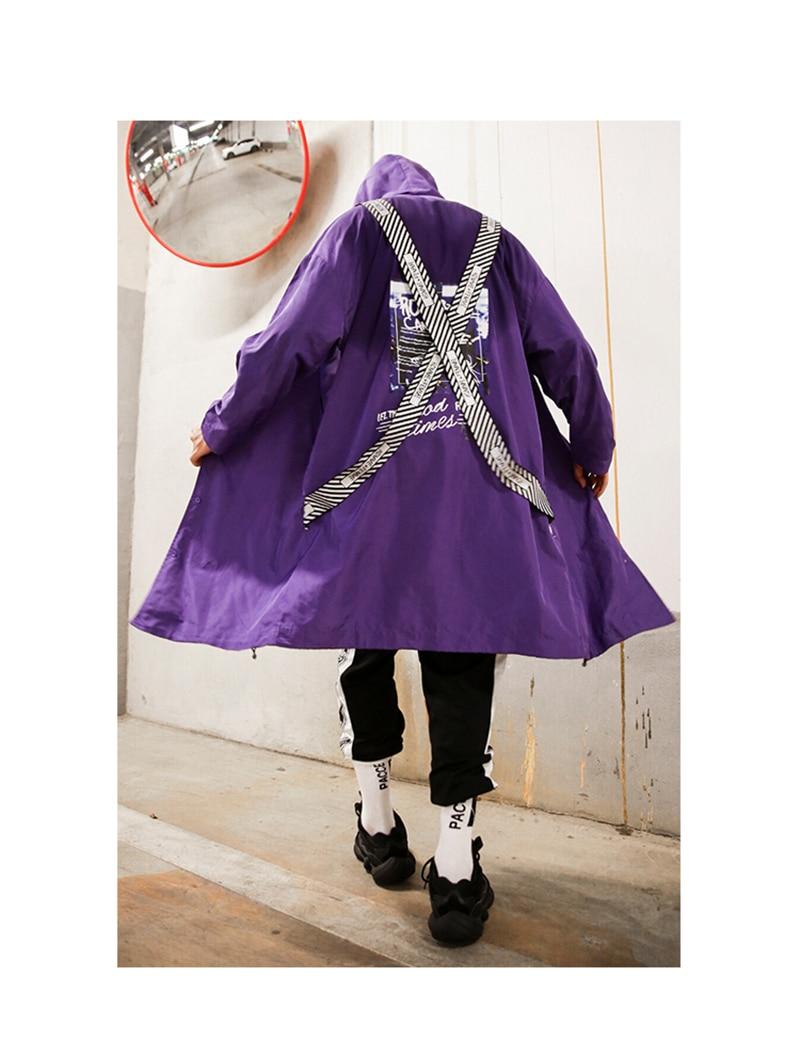 Long Men Trench Coat Casual Spring 2018 Slim Fit white Mens Hood Street South Korea Clothing (18)