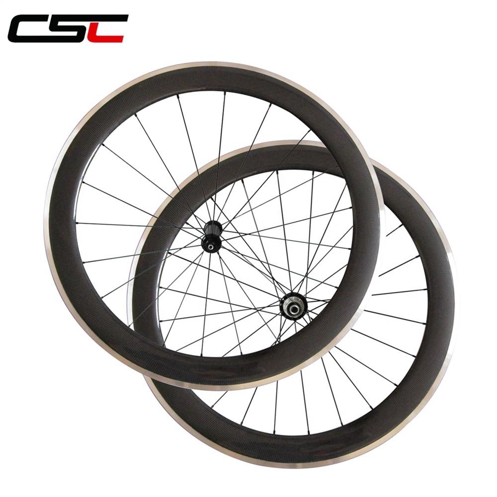 CSC 700C 60mm Depth 23mm width Clincher Carbon road wheels Aluminium Brake track wheelset D T350