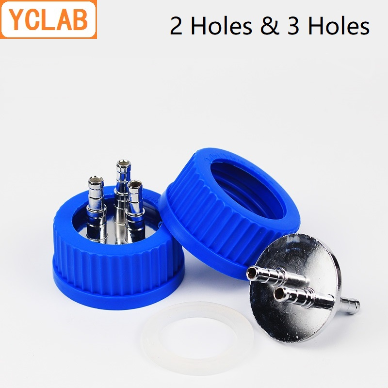 YCLAB Blue Cap with 2/3/4 Stainless Steel Holes Reagent Feeding Bottle for Fermenter Anaerobic Injection Mobile Phase Labware