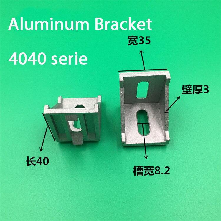 10 шт. 4040 кронштейны Угловые алюминиевые 40x40 L соединитель кронштейн крепеж для 4040 промышленных алюминиевых профилей Угловые кронштейны      АлиЭкспресс