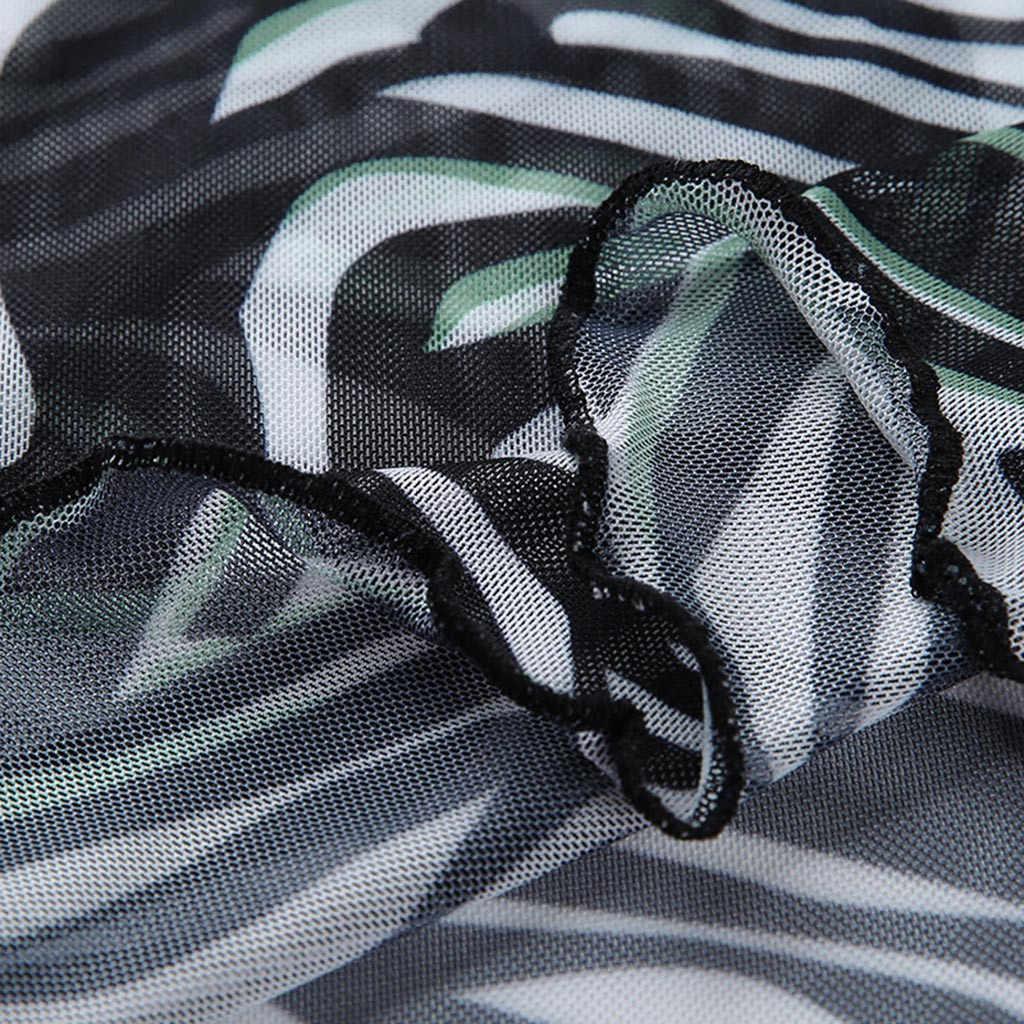 2019 новые женские футболки летние сексуальные прозрачные Зебра-полоски принт сетка кроп Топ Леди стрейч с короткими рукавами облегающая футболка