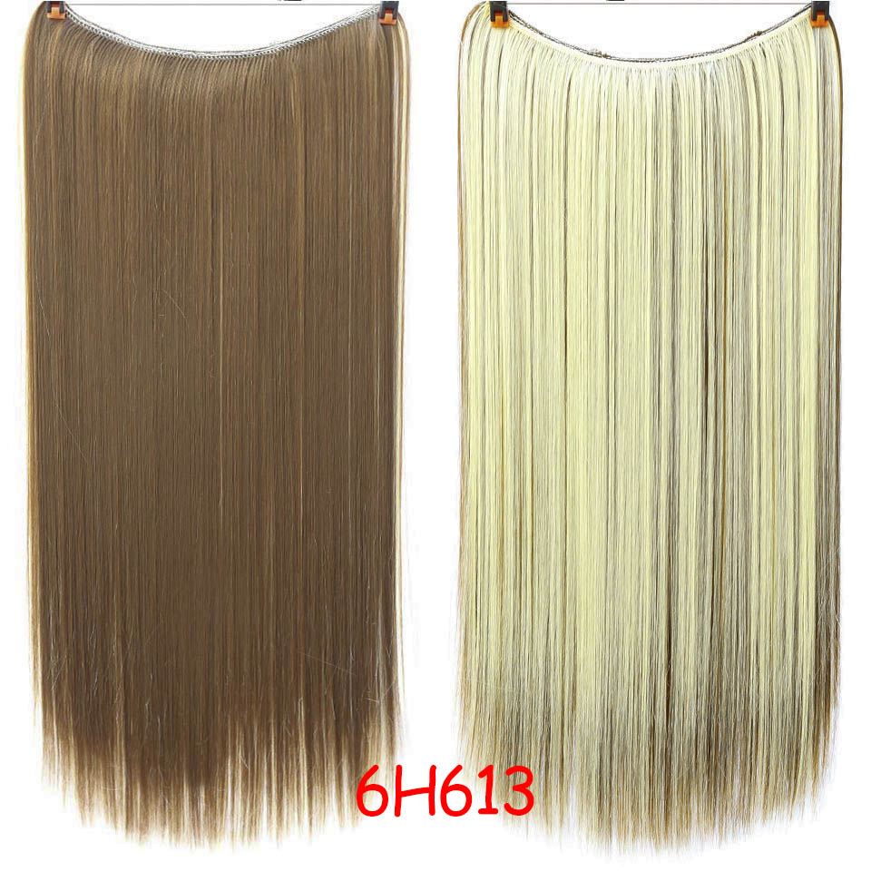 """SHANGKE 2"""" флип-на проволоке в синтетическом скрытом невидимом не клип в головном повязке прямые высокотемпературные волокна для наращивания волос - Цвет: #5"""