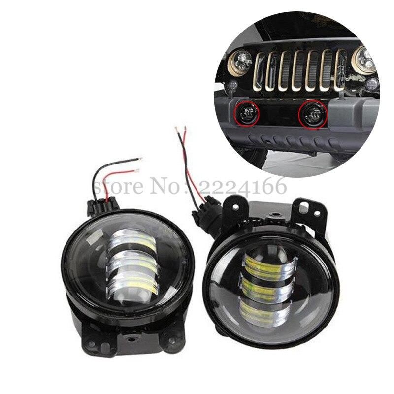 2PCS/Pair 4 Inch 30W LED Fog Light For Jeep Wrangler JK 07~14 High Power LED Fog Lamp Auto DRL Lighting Car-styling