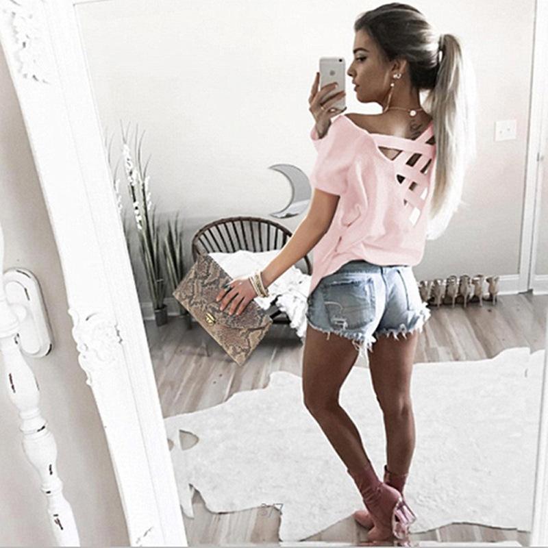 Women's Sexy Backless Hollow Bandage Punk Tee Shirt, Woman's Short Sleeve Summer T-Shirt 10