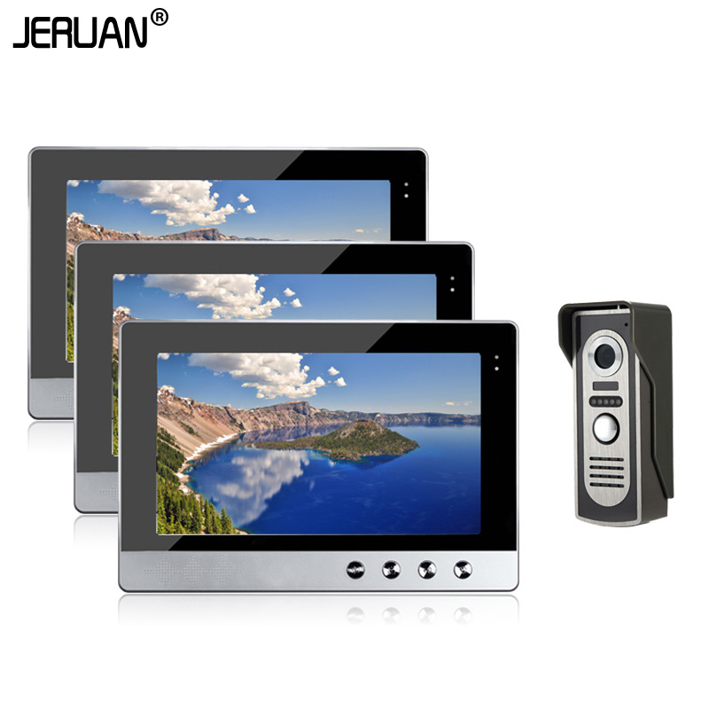 JERUAN 10 inch LCD screen Video Door Phone Intercom Kit Set + 3 Monitors + Night Vision Outdoor Doorbell Camera Speaker intercom jeruan new doorbell intercom doorphone wireless video door phone with memory image station outdoor night vision function