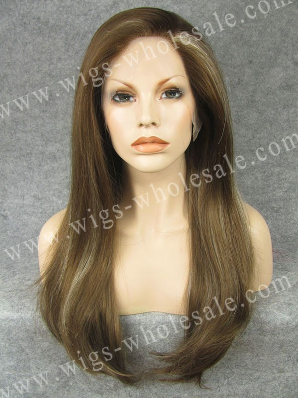 ФОТО Long straight highlight synthetic lace front wig natural brown wig free shipping