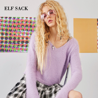 ELF SACK Mohair Women Sweater Backless Long Sleeve Flare Sleeve Deep Neck Sexy Short Solid Autumn Knitted Tops Sweaters Casual