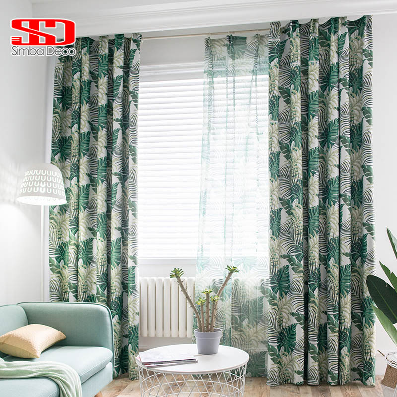 Tropical Printed Blackout Curtains For Living Room Green Leaves Palm Tree Tulle Veil