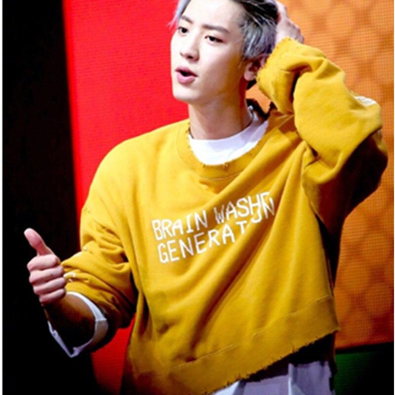 Aganmi 2017 Neue KPOP EXO ChanYeol Die Gleiche Koreanische Version Sweatershirt langärmliges gelbes Hoodie Männer und Frauen Herbst Hoody