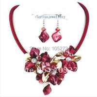 Clearance Sale Hand Crafted Red Cord Crystal Shell Flower Chunky Necklace Earring Jewelry Set Wholesale New