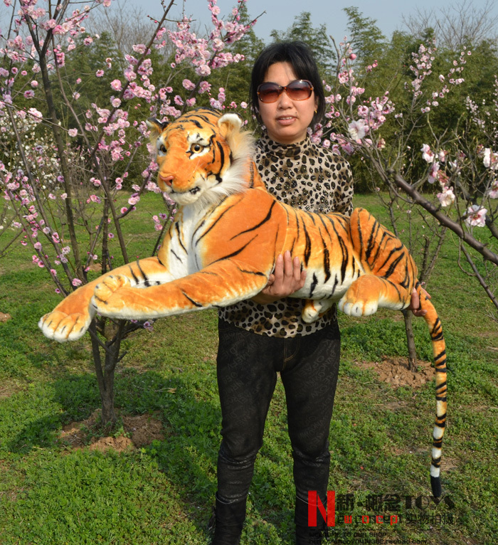 stuffed animal 110 cm plush simulation lying tiger toy emulation yellow tiger doll great gift  free shipping w400 stuffed animal 145cm plush tiger toy about 57 inch simulation tiger doll great gift w014