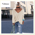 2017 hot Womens express Elegant V Neck Loose Casual Knit Sweater Pullover Long Sleeve Spring Sweater Tops