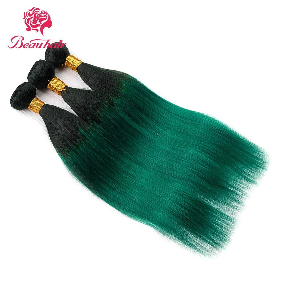 Beau Hair Ombre Bundlar Med Stängning 1B / Grön Två Tone Ombre - Skönhet och hälsa - Foto 1