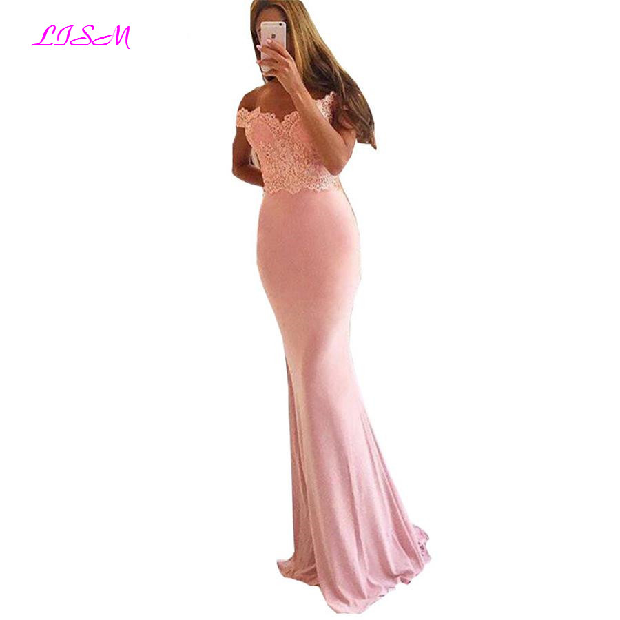 Blush Pink Off Shoulder Sleeveless Mermaid Prom   Dress   Lace Appliques Beaded Boat Neck Stain Trumpet Long   Bridesmaid     Dresses