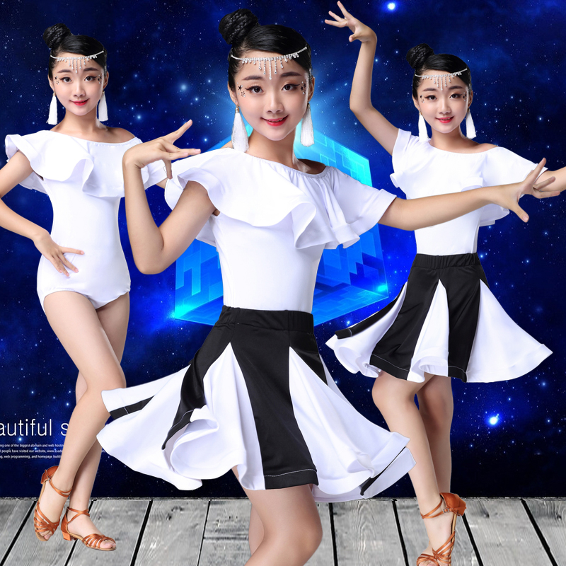 2019 Short Sleeve Children Rumba/samba/tango/modern Dance Standard Girls White Skirt Latin Dresses For Dancing Ballroom Dance
